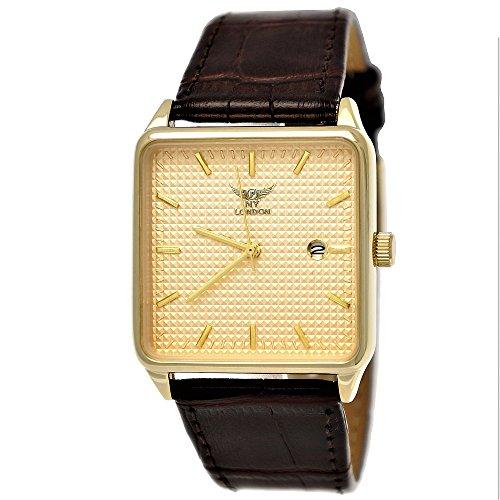 Elegante NY London Business Herren-Uhr Analog Quarz Leder Armband-Uhr Braun Gold mit Datumsanzeige Carbon Ziffernblatt Carbon-armband Für Männer