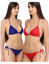 74d5dfd3ad1 FIMS® Women s Girls Satin Nylon Lycra Spandex (4 Way) Sexy Bridal Honeymoon  Beach Wear Bra Panty Bikini