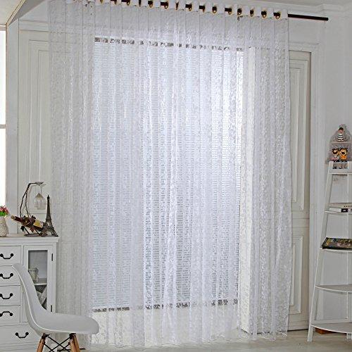 Amazingdeal365 Spitzen Vorhang Flugfensterdeko Voile Gardinen Schal 2m *1 m Set für Tür Schlafzimmer Wohnzimmer Kinderzimmer Balkon Terasse Spielzimmer (Weiß) (Tür Vorhang Spitze)