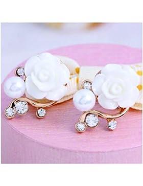 ILOVEDIY 1 Paar Süß Damen Perlen Rosen Ohrstecker, Rosengold Blumen-Ohrringe, Rosengold Modeschmuck