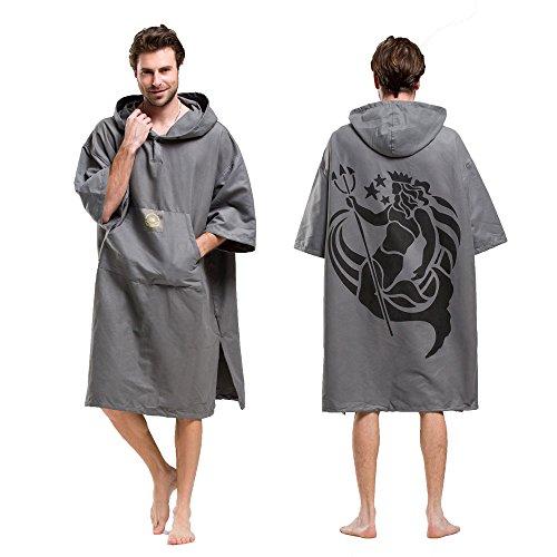 Adultos Changing Robe Toalla Poncho con capucha bolsillo en la manga, para hacer Surf, nadar traje de cambio, talla única.