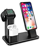 Apple Watch Stand, Aluminium 4 in 1 Apple iWatch Ladestation iPhone AirPods Ständer Ladestation...