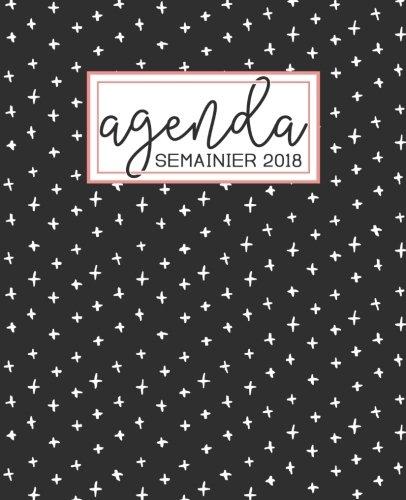 Agenda: 2018 Agenda semainier : 19x23cm : Motif noir, blanc et corail