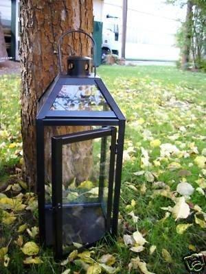 Schwarze schwere stabile Laterne Windlicht, Echtglas