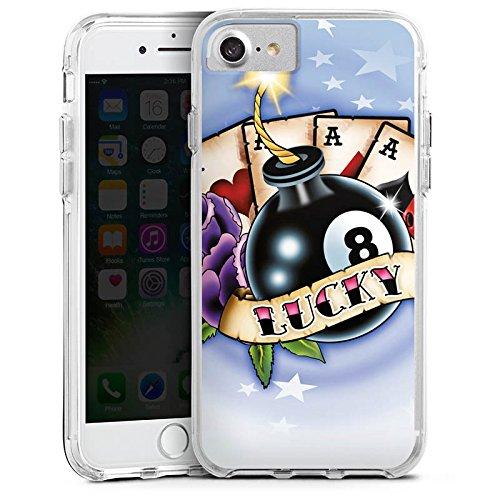 Apple iPhone 7 Plus Bumper Hülle Bumper Case Glitzer Hülle Karten Cards Happiness Bumper Case transparent