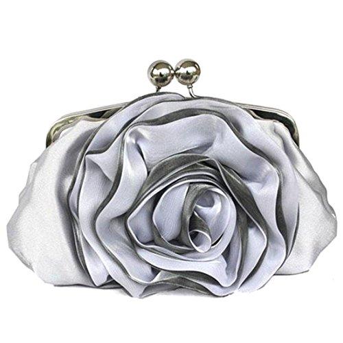 YYW Silk Clutch Bag, Poschette giorno donna Silver