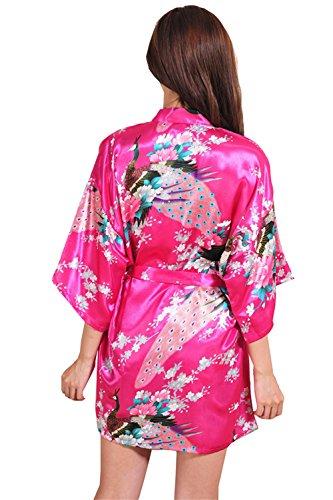 Pigiama corto Kimino Robe Peacock Stampato Donna Accappatoio Pigiama Loungewear Spa Robe Pigiama Rose Red