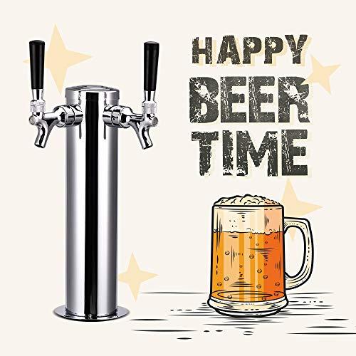 HUKOER Torre de Cerveza de Acero Inoxidable Pulido Kit Estándar Dispensador de Bebidas para Bares, Hoteles, Casas, Actividades al Aire Libre - 2 Grifos