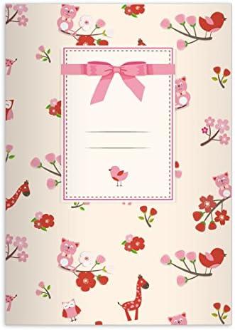 32 Mignons cahiers avec avec avec des girafes, des chats & Co comme un motif pour les enfants , rose sur jaune pâle, A5 (21x14,8), cahiers pour écrire, linéatur 4 (Mignon cahierligné, sans bord) | Le Prix De Marché  c34024