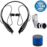 Drumstone HBS 730 Wireless Bluetooth Sport Headset With Call Functions With 3 In 1 Cell Phone Camera Lens Kit - Fish Eye Lens / 2 In 1 Macro Lens & Wide Angle & Bluetooth Wireless Speaker (S10) Suitable With Smartphones (One Year Warranty, Assorte