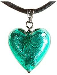 Amazon antica murrina jewellery antica murrina cuore matto silver foil murano glass heart pendant necklace pierced post earrings mozeypictures Choice Image