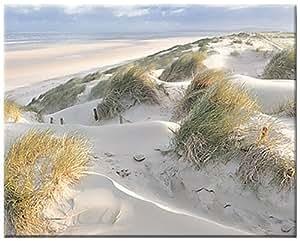 Les dunes - pastel - image sur toile d'artiste, Georges-Felix Cohen, 80 cm x 64 cm, impression numerique sur toile d'artiste avec chassis en bois , á bords imprimés , de manière inversée , produit fini , paysage littoral, vent et la mer, art produit , regate, voile, image pret à accrocher