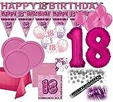 KPW XXL Mega 93 Teile Zum 18. Geburtstag Dekorations Party Set Pink für 32 Personen
