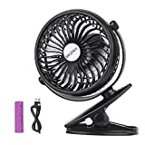 Clip on Fan, Battery Operated Desk Table Fan Rechargeable, Portable Mini USB Fan