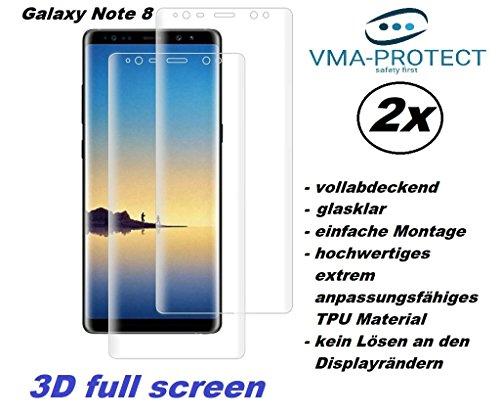 2 Stück Samsung Galaxy Note 8 3D curved full screen Schutzfolie Displayschutzfolie aus extrem belastbarem und anpassungsfähigem Material (deckt die Displayrundung vollständig ab inkl.deutscher Anleitung) Screen Protector Displayschutz von VMA-Protect