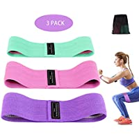 Hip Resistance Bands Set, 3 Colourful Non-Slip Fabric Fitness Loop Bands for Legs and Butt with Different Resistance Levels, Exercise Booty Bands Ideal for Workout, Yoga, Pilates, Glutes Training