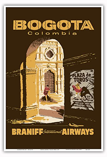 Pacifica Island Art Bogotá, Kolumbien - Plaza de Toros - Stierkampfarena - Braniff International Airways - Vintage Retro Fluggesellschaft Reise Plakat Poster c.1957 - Kunstdruck - 33cm x 48cm
