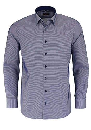 Eterna Long Sleeve Shirt Modern Fit Fancy Weave Checked Blu jeans