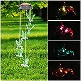 Carrillón viento LED Solar cambiante color móvil de viento, pathonor LED cambio de color luz 6 colibrí viento, para decoración del hogar/fiesta/jardín