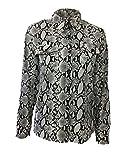 Damen Oberteile Frühling Herbst Schlangenmuster Tops Fashion Elegant Longsleeve V-Ausschnitt Bluse Zum Knoten Vintage Chic Blusen Hemden Mode Marken (Color : Schwarz, Size : M)