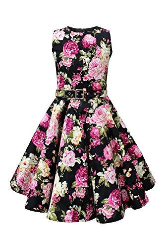 r 'Audrey' Vintage Divinity Kleid im 50er-J-Stil (Schwarz, 13-14 J / 158-164) (Black Party Kleider Für Mädchen)