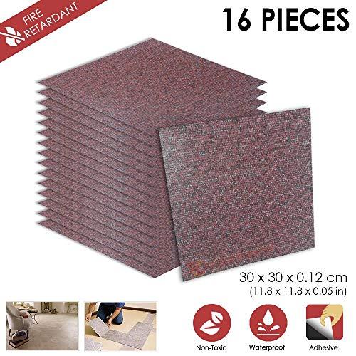 16 Stucke Schalen und Kleben 30 x 30 x 0.1 cm Heimtextilien G- MAROON-TEPPICH Design PVC Bodenbelag Fliesen Selbstklebend Vinyl-Fliesen 1175 Maroon-design