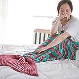 Cola de sirena manta, kvolity suave saco de dormir manta de adultos de sirena hecho a mano Crochet todo el año manta cálida sala de Kintting 71x 35inch mejor regalo de Navidad