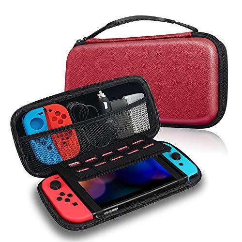 FINTIE Funda Portátil para Nintendo Switch - Estuche para Viaje Bolsa de Transporte con 10 Ranuras para Tarjeta de Juego y Bolsillo Interno para la Videoconsola Joy-con de Nintendo Switch, Rojo