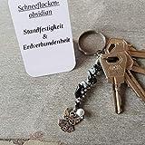Schlüsselanhänger, Taschenbaumler, Kettenschmeichler, Edelstein Schneeflockenobsidian, Tatting, Occhi