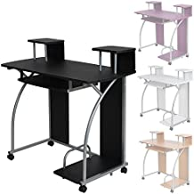 tectake mesa de ordenador de escritorio juvenil estudiante pc trabajo muebles negro