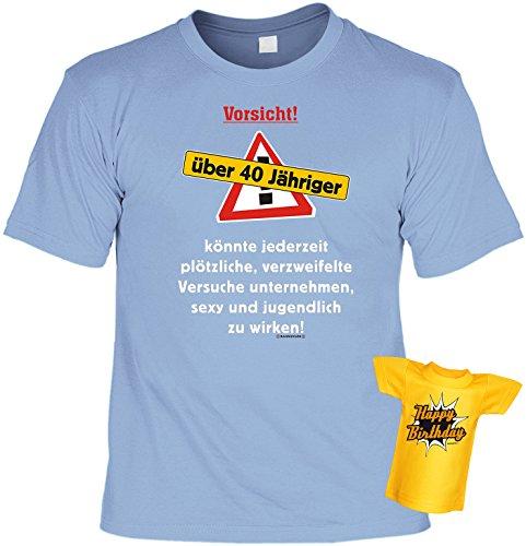 Geburtstags-Fun-Shirt-Set inkl. Mini-Shirt/Flaschendeko: Vorsicht über 40 Jähriger.... Hellblau