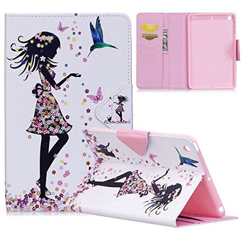 Yokata Apple iPad Mini 1 / Mini2 / Mini3 Hülle Case Schutzhülle Tasche mit Standfunktion und Auto Sleep / Wake Up Funktion Slim Ultra Dünn Hochwertiges PU Leder Etui Ledertasche für iPad Mini 1 / Mini2 / Mini3 (7,9 Zoll) Tablet Etui - Schmetterling und Mädchen
