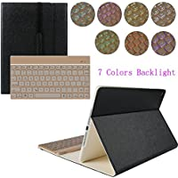kvago iPad Air Custodia Cover tastiera retroilluminata + HD Protezione Schermo e Pennino in alluminio finitura plastica rigida tastiera wireless Bluetooth Custodia Smart Cover per Apple iPad Air Custodia con tastiera 7 colori Retroilluminazione chiavi nero Detachable Keyboard Case Fashion Style - Black
