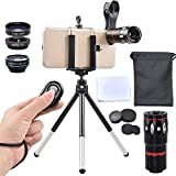 Apexel 5 In 1 Camera Lens Kit - Telephoto + Fisheye + Wide Angle & Macro + Wireless Shutter With Mini Tripod + Phone Holder For IPhone X/8/7/6/6s Plus Samsung Galaxy S8/S7 Plus Andriod Phone