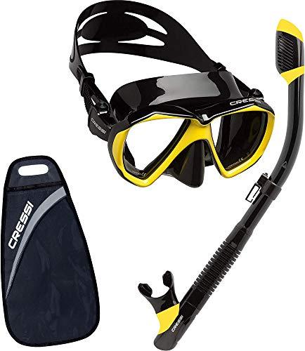 Cressi UnisexErwachsene Ranger & Tao Masken und Schnorchel zum Tauchen und Schnorcheln Schwarz/Gelb Einheitsgröße