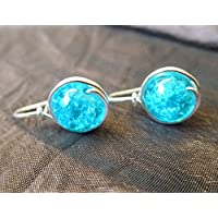 Funkelnde Ohrringe - Blue Crackle - versilbert