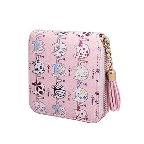 Preisvergleich Produktbild Tongshi Frauen Drucken Quaste Reißverschluss Kupplung Geldbeutel kurze Karte Halter Tasche Handtasche (rosa)