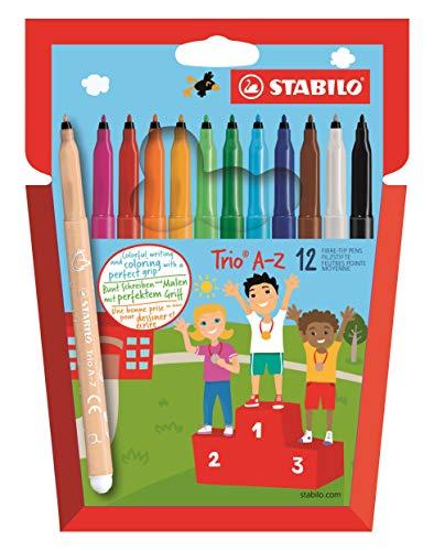 Filzstift  - STABILO Trio A-Z - 12er Pack - mit 12 verschiedenen Farben