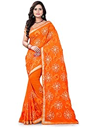 Riva Enterprise Women's Fully Ribbon Work Orange Color Women Saree (RIVA148_)