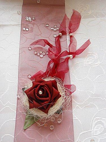Tischdekoration bordeaux zur Hochzeit Verlobung Kommunion Tischdeko Aufleger TD0031