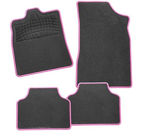 CarFashion 242675 Calypso Pink AM1 | Auto Fussmatte in schwarz | Automatten | schwarzer Trittschutz | Hochglanz Kettelung in Pink | Auto Fussmatten Set ohne Mattenhalter