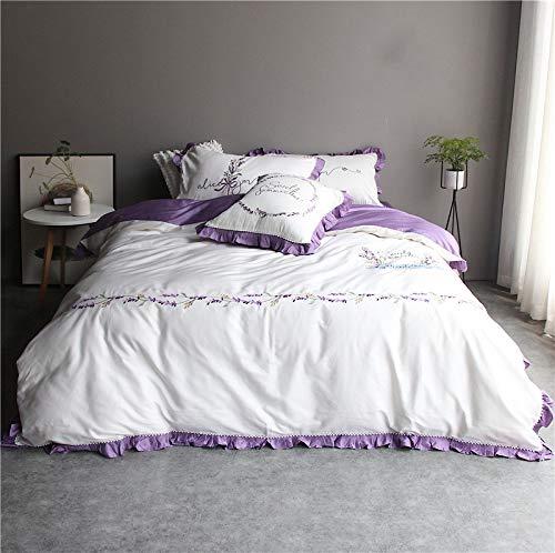 XULIM Bettwäschesatz von Vier Lila Lavendel Bettwäsche Set ägyptischer Baumwolle Bettbezug Blatt Kissenbezug Tröster Stickerei Bett Set, König, 220 * 240cm -