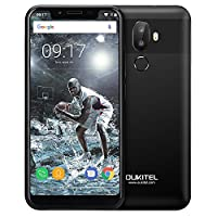Oukitel U18, 5.85 inch Notch Screen Face Unlock 21:9 HD+ Android 7.0 Smartphone, MTK6750T Octa-core 4GB RAM 64GB ROM Mobile Phone with Dual Rear Cameras (16MP+5.0MP) Front Camera(13MP) Fingerprint 4000mAh Battery Dual SIM Type-C 4G Phablet (Black)