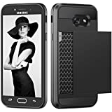 Samsung Galaxy A5 (2017) Hülle, Coolden® Prämie 2 Kartenfach Wallet Case Outdoor Stoßfest Silikon TPU + Hard PC Schutzhülle für Samsung A5 2017 Handyhülle Samsung Galaxy A5 Cover(Schwarz)
