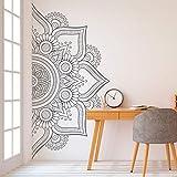 Fleur de Mandala Vinyle Stickers Muraux Chambre des maîtres Tête de lit Décoration Intérieur Amovible Bohème Mandala Art Mural 42x83 cm