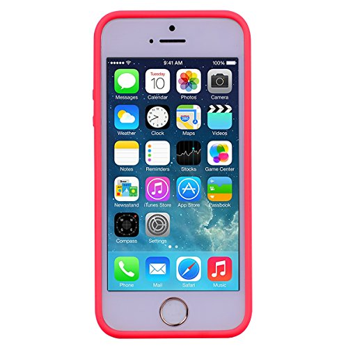 2x Cover iPhone 5 / 5S / SE,ZHXMALL Custodia iPhone 5 / 5S / SE Silicone Colore Candy TPU Flessibile Morbido Ultra Sottile Leggero Gel Gomma Cassa Protettiva Anti-urto Anti-Graffio Cellulari Protezion Rosso + Nero