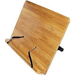 Kurtzy Soporte de Bambú - 33,5cm x 24cm de con 6 Alturas Ajustables -Atril Para Libros y Soporte de Tablets -Bookrest Ideal para Leer, Ver Videos, Estudiar, Sostener libros de cocina