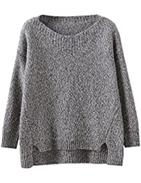 72f9019c14a94 Futurino Femme Classique Manches Longueues Oversize Fit Pull Tricot Sweater