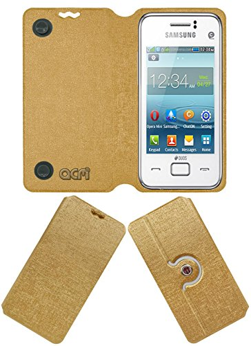 Acm Designer Rotating Flip Flap Case for Samsung Rex 80 S5222r S5222 Mobile Stand Cover Golden  available at amazon for Rs.399