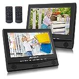 Pumpkin Lecteur DVD Portable Enfant pour Voiture Double Ecrans d'Appuie-tête 10,1 Pouce (Deux Lecteurs DVD) Autonomie de 5 Heures supporte USB SD MMC avec Sangles de Fixation